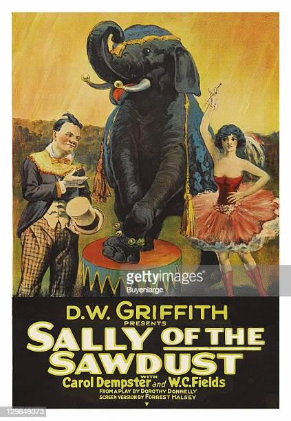 Circus clown elephant trainer with girl dance performer on a poster that advertises the movie 'Sally of the Sawdust' 1925