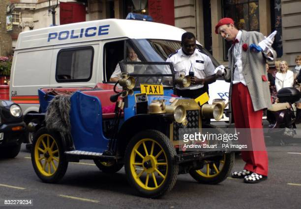 Circus clown 'Polo' finds himself arguing with a Police Officer over his space in the taxi rank outside the party held to celebrate the publication...