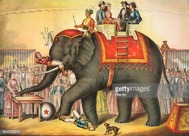 Circus elephant performing with riders on its back printed by Gibson Co color lithograph