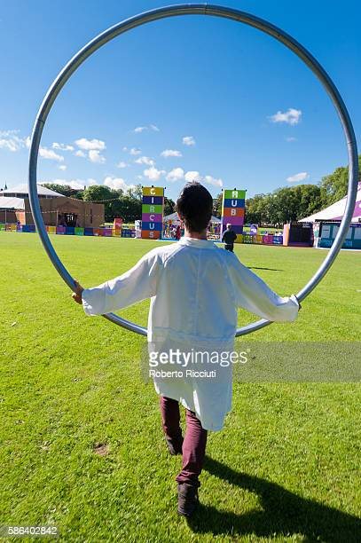 Circus Hub performer walks in the Meadows during a photocall to celebrate the start of the Edinburgh Festival Fringe at Circus Hub on August 5 2016...