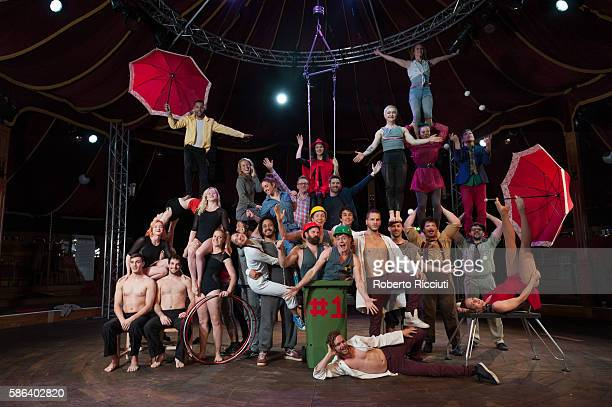Circus Hub performers attend a photocall in The Lafayette tent to celebrate the start of the Edinburgh Festival Fringe at Circus Hub on August 5 2016...