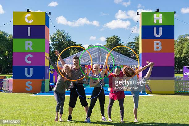 Circus Hub performers celebrate the beginning of the Olympic Games in front of entrance of Circus Hub on August 5 2016 in Edinburgh Scotland