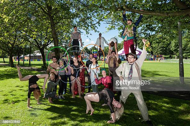 Circus Hub performers pose to photographers at a photocall to celebrate the start of the Edinburgh Festival Fringe at Circus Hub on August 5 2016 in...
