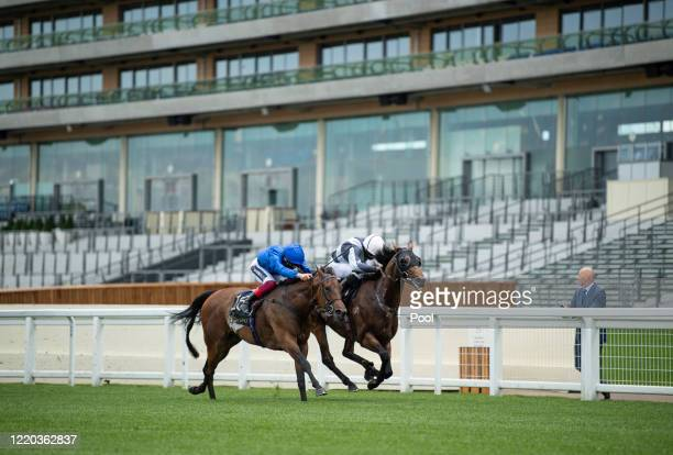 Circus Maximus ridden by Ryan Moore right beats Terebellum ridden by Frankie Dettori in the Queen Anne Stakes at Ascot Racecourse on June 16, 2020 in...
