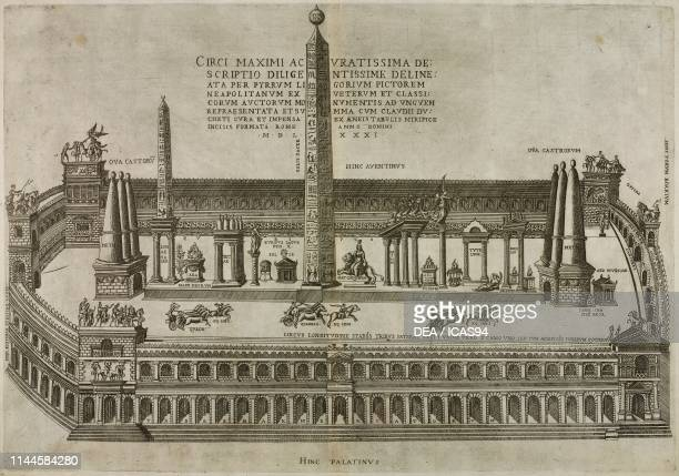 Circus Maximus, Rome, Italy, engraving by Nicolas Beatrizet from a drawing by Pirro Ligorio, from Speculum Romanae Magnificentiae, by Antoine...