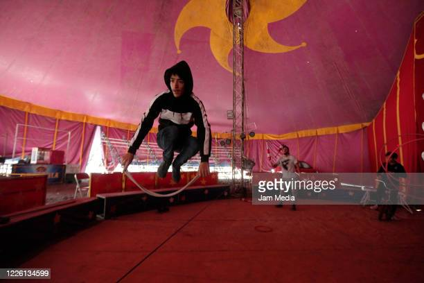 Circus members train amids coronavirus on May 20 2020 in Queretaro Mexico As nonessential activities are not permitted during stage three of the...