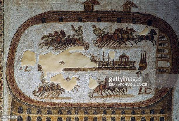 Circus of Carthage mosaic from Carthage Tunisia Roman civilisation 6th century AD Tunis Musée National Du Bardo
