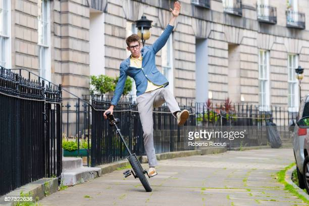 Circus performer Sam Goodburn unicycles during a photocall for his show 'Sam Goodburn Dumbstruck' at Royal Circus during the 70th Edinburgh Fringe...