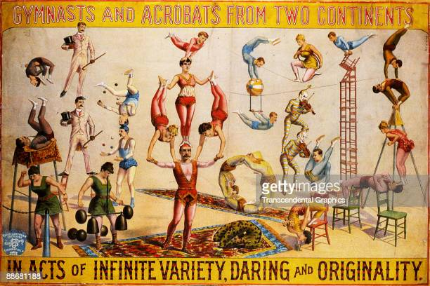 Circus poster features the text 'Gymnasts and Acrobats from Two Continents in Acts of Infinite Variety Daring and Originality' and an illustration...