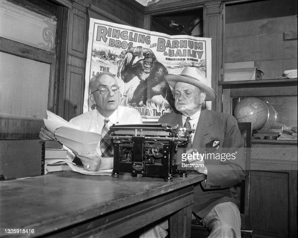 Circus press agents wind up activities at the winter camp by preparing advance publicity to send to city rooms as the performers get in last minute...