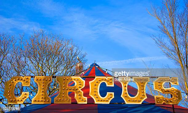 Circus sign with blue sky