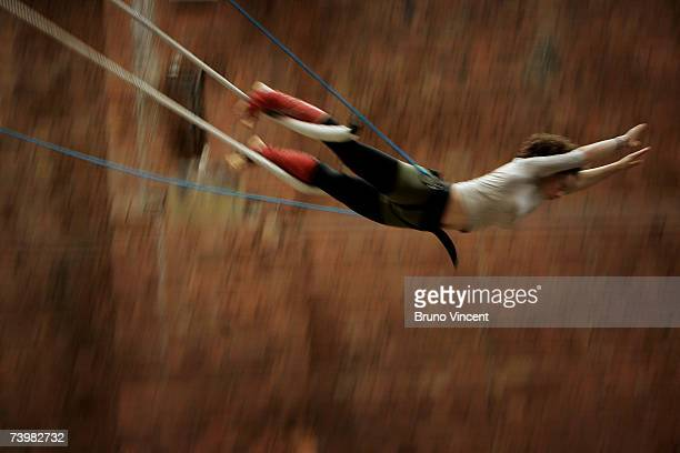 A circus skills student practices the Trapeze during the European Teachers Training Programme in Circus Arts at Circus Space on April 26 2007 in...