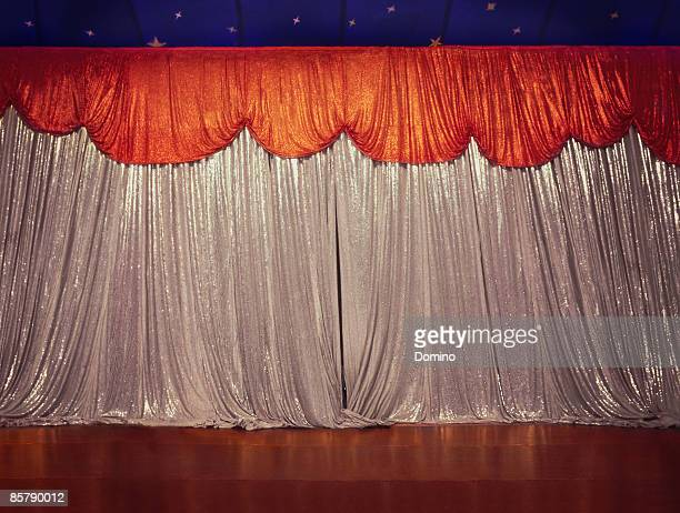 Circus stage with curtains closed