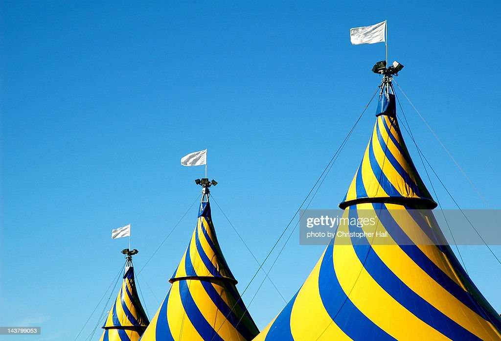 Circus tents against blue sky : Stock Photo