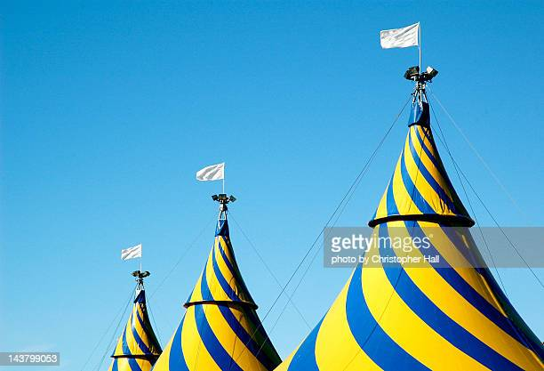Circus tents against blue sky