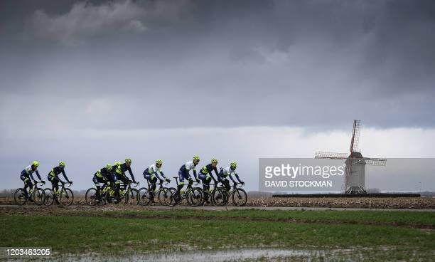 Circus Wanty-Gobert riders pictured in action during the reconnaissance of the track, ahead of the 75th edition of the one-day cycling race Omloop...
