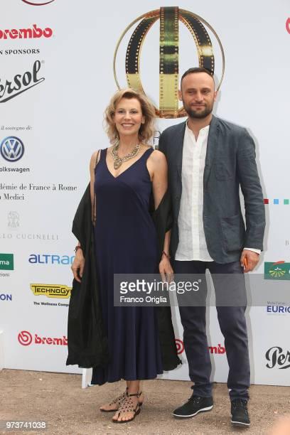 Ciro Formisano and Daniela Poggi attend Globi D'Oro awards ceremony at the Academie de France Villa Medici on June 13 2018 in Rome Italy