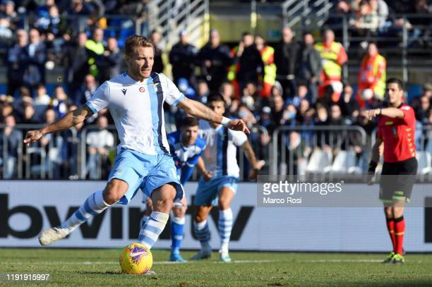 Ciro Immobil of SS Lazio scores a frist goal a penalty during the Serie A match between Brescia Calcio and SS Lazio at Stadio Mario Rigamonti on...