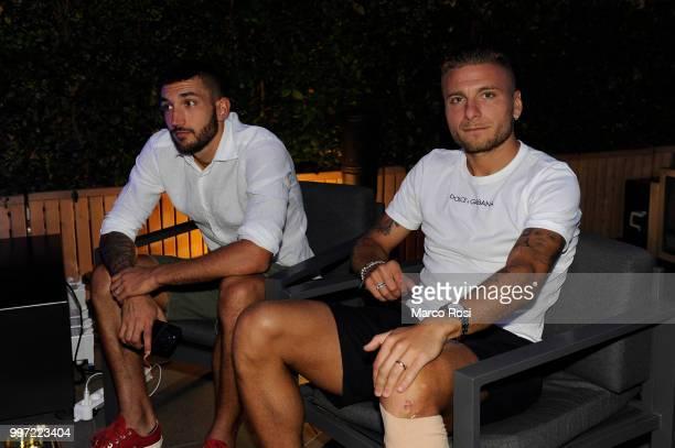 Ciro Immobile and Danilo Cataldi of SS Lazio attend the SS Lazio unveil new shirt for 201819 Season on July 12 2018 in Rome Italy