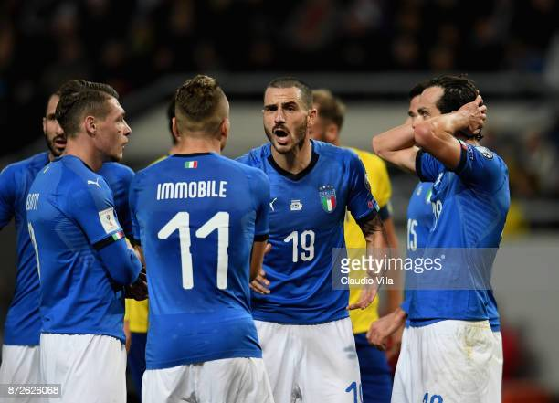 Ciro Immobile and Leonardo Bonucci of Italy react during the FIFA 2018 World Cup Qualifier PlayOff First Leg between Sweden and Italy at Friends...