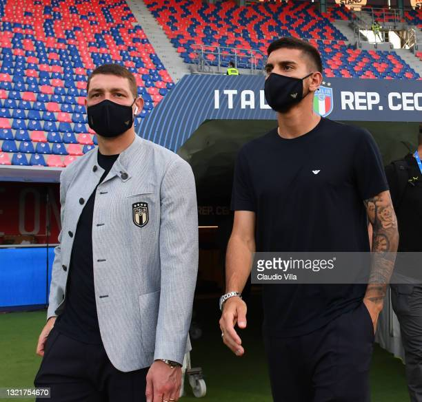 Ciro Immobile and Lorenzo Pellegrini of Italy look on before the international friendly match between Italy and Czech Republic at Renato Dall'Ara...