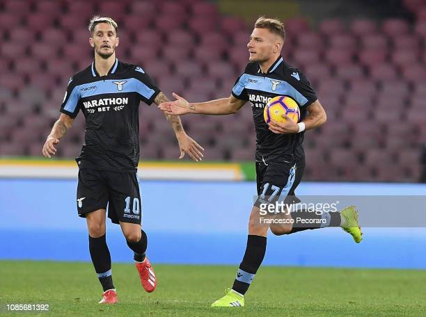 Ciro Immobile and Luis Alberto of SS Lazio celebrate the 21 goal scored by Ciro Immobile during the Serie A match between SSC Napoli and SS Lazio at...