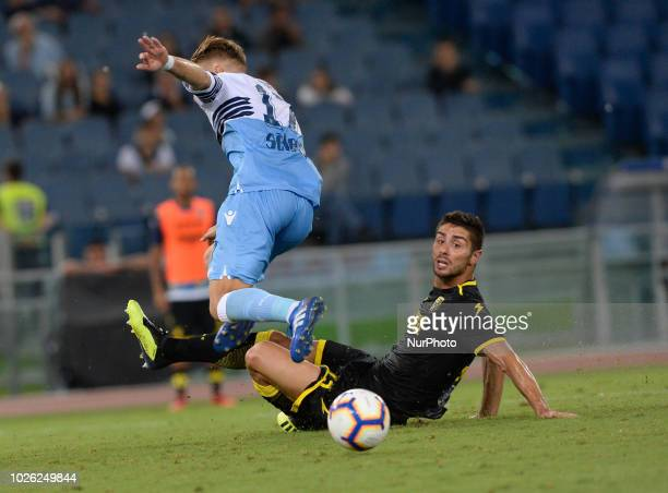 Ciro Immobile and Marco Capuano during the Italian Serie A football match between SS Lazio and Frosinone at the Olympic Stadium in Rome on september...