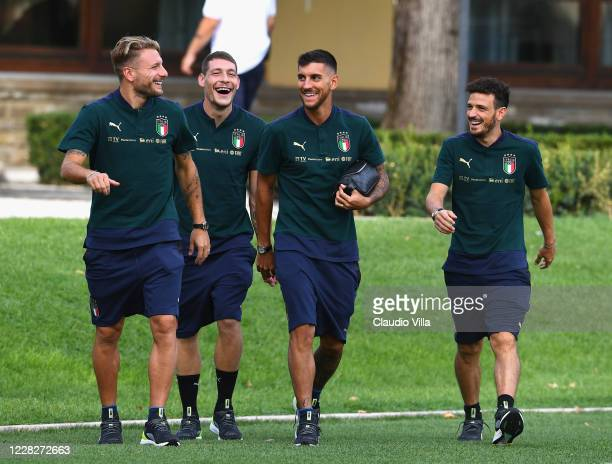 Ciro Immobile, Andrea Belotti, Lorenzo Pellegrini and Alessandro Florenzi of Italy chat before training session at Centro Tecnico Federale di...