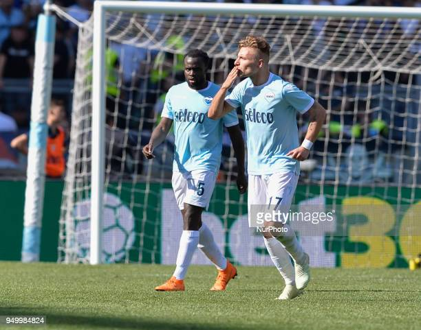 Ciro Immobile celebrates after score goal 30 during the Italian Serie A football match between SS Lazio and US Sampdoria at the Olympic Stadium in...