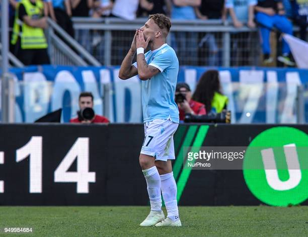 Ciro Immobile celebrates after score goal 40 during the Italian Serie A football match between SS Lazio and US Sampdoria at the Olympic Stadium in...