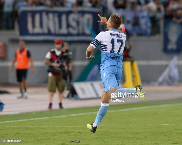 Ciro Immobile celebrates after scoring goal 10 during the Italian Serie A football match between SS Lazio and SSC Napoli at the Olympic Stadium in...