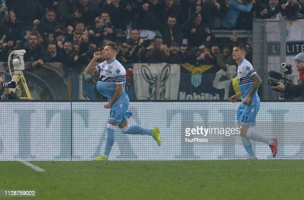 Ciro Immobile celebrates after scoring goal 20 during the Italian Serie A football match between SS Lazio and AS Roma at the Olympic Stadium in Rome...