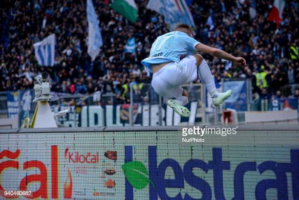 Ciro Immobile celebrates under the Curva Nord aftre score goal 42 during the Italian Serie A football match between SS Lazio and Benevento at the...