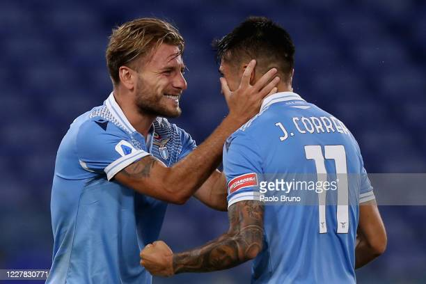 Ciro Immobile celebrates with his teammate Joaquin Correa of SS Lazio after scoring the team's second goal during the Serie A match between SS Lazio...