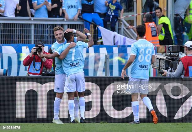 Ciro Immobile celebrates with Nani after score goal 40 during the Italian Serie A football match between SS Lazio and US Sampdoria at the Olympic...