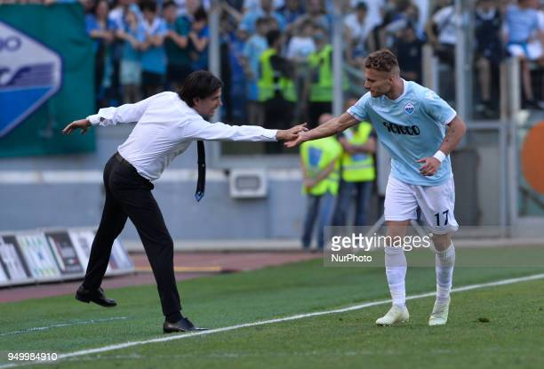 Ciro Immobile celebrates with Simone Inzaghi after score goal 40 during the Italian Serie A football match between SS Lazio and US Sampdoria at the...