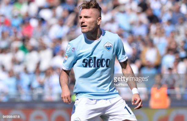 Ciro Immobile during the Italian Serie A football match between SS Lazio and US Sampdoria at the Olympic Stadium in Rome on april 22 2018