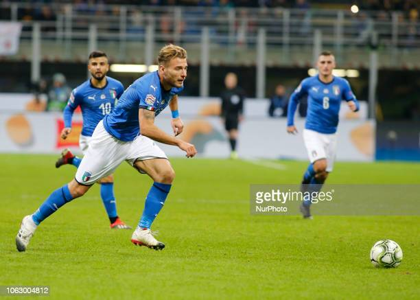 Ciro Immobile during the Nation League match between Italia v Portogallo in Milan Giuseppe Meazza Stadio on November 17 2018