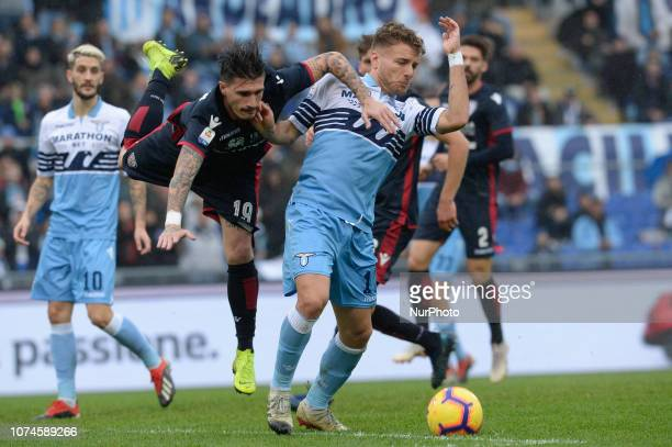 Ciro Immobile Fabio Pisacane during the Italian Serie A football match between SS Lazio and Cagliari at the Olympic Stadium in Rome on december 22...