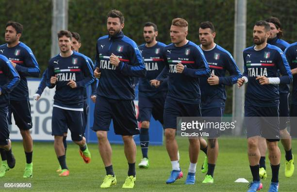 Ciro Immobile in action during the training session at the club's training ground at Coverciano on March 22 2017 in Florence Italy