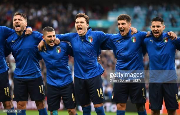 Ciro Immobile, Marco Verratti, Federico Chiesa, Giovanni Di Lorenzo and Jorginho of Italy sing the national anthem prior to the UEFA Euro 2020...