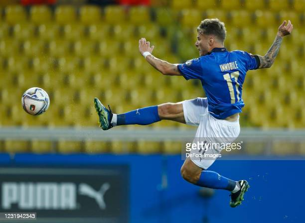 Ciro Immobile of Italy battle for the ball during the FIFA World Cup 2022 Qatar qualifying match between Italy and Northern Ireland on March 25, 2021...