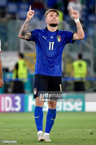 Ciro Immobile of Italy celebrates after scoring the goal of 3-0 during the Uefa Euro 2020 Group A football match between Italy and Switzerland. Italy...