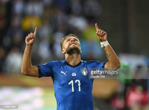 Ciro Immobile of Italy celebrates after scoring the opening goal during the UEFA Euro 2020 qualifier between Finland and Italy at Tampere stadium on...