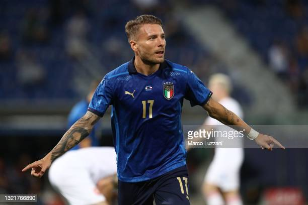 Ciro Immobile of Italy celebrates after scoring the opening goal during the international friendly match between Italy and Czech Republic at Renato...