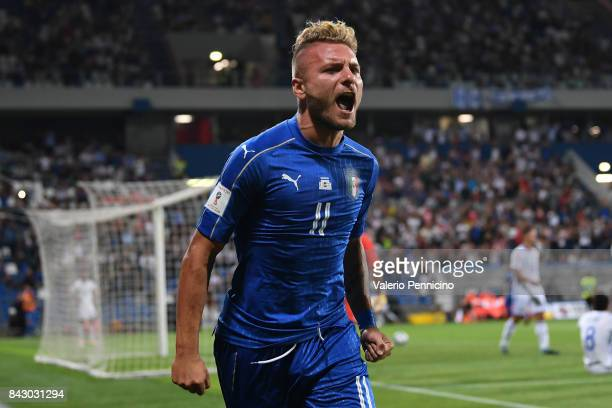 Ciro Immobile of Italy celebrates after scoring the opening goal during the FIFA 2018 World Cup Qualifier between Italy and Israel at Mapei Stadium...