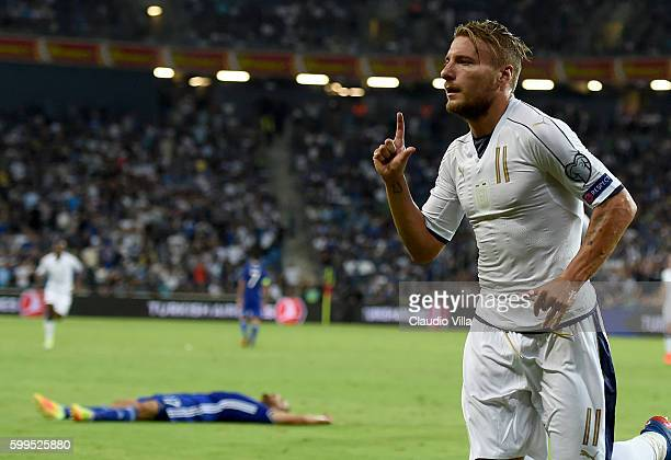 Ciro Immobile of Italy celebrates after scoring the third goal during the FIFA 2018 World Cup Qualifier between Israel and Italy at Itztadion Sammy...