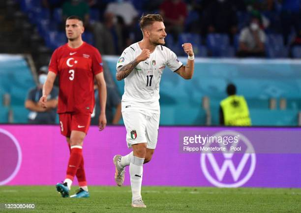 Ciro Immobile of Italy celebrates after scoring their side's second goal during the UEFA Euro 2020 Championship Group A match between Turkey and...