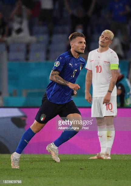 Ciro Immobile of Italy celebrates after scoring their team's third goal during the UEFA Euro 2020 Championship Group A match between Italy and...
