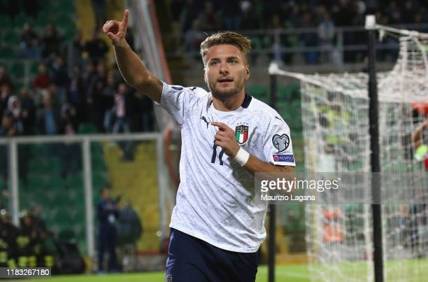 Ciro Immobile of Italy celebrates the opening goal during the UEFA Euro 2020 Qualifier between Italy and Armenia on November 18, 2019 in Palermo,...